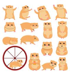 Hamster icons set cartoon style vector