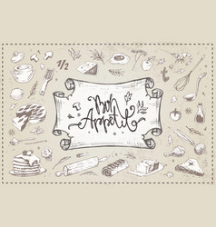 hand drawn culinary items food kitchen utensils vector image