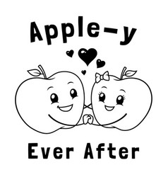 Happy apple couple vector