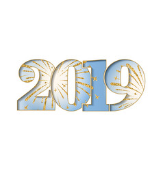 happy new year card blue number 2019 with gold vector image