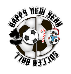 happy new year dog and soccer ball vector image