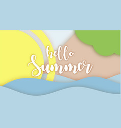 hello summer lettering paper applique origami art vector image