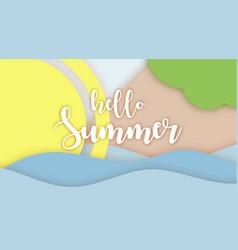 hello summer lettering paper applique origami art vector image