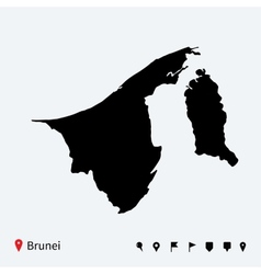 high detailed map brunei with navigation pins vector image