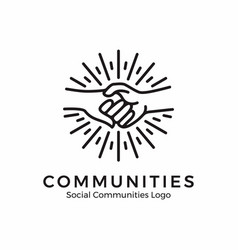 holding hand logo community logo vector image