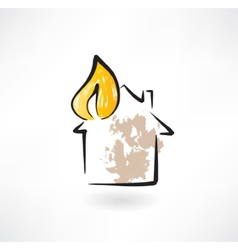 House fire grunge icon vector