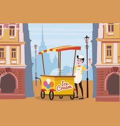ice cream seller cart city background vector image