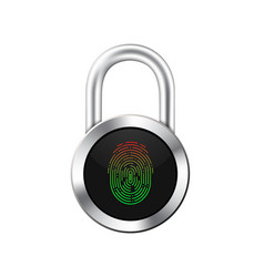 Icon of a realistic hinged chrome lock with a vector