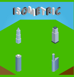Isometric construction set of tower exterior vector