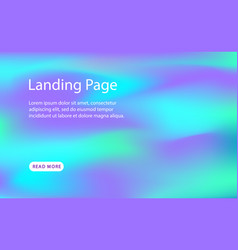 landing page template holographic background vector image