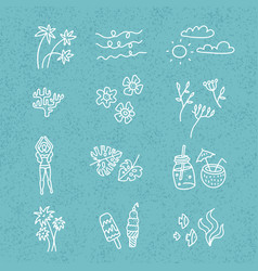 Line hand drawn doodle cartoon set summer time vector