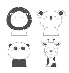 lion koala panda bear giraffe face head sketch vector image
