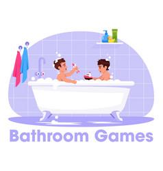 Little boys play in bath semi flat rgb color vector