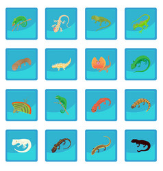 lizard icon blue app vector image