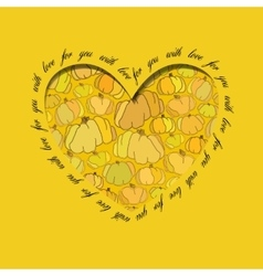 Love card Golden heart design with pumpkin vector image