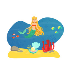 marine life with cute smiling little mermaid and vector image
