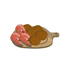 meat and fish steaks on a wooden board cartoon vector image