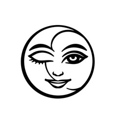 occult symbol - the stylized faces of the moon and vector image
