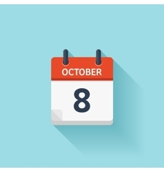 October 8 flat daily calendar icon Date vector image