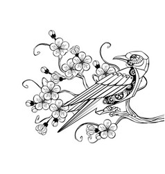 outline mechanical bird vector image