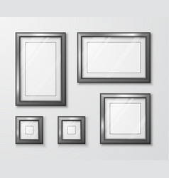 photo frames on gray wall modern empty frame vector image