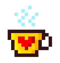 pixel cup of coffee tea cartoon retro game style vector image