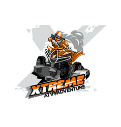 Quad bike off-road atv logo extreme adventure vector