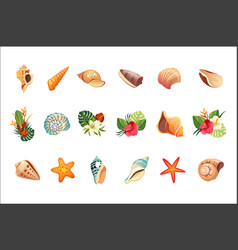 Realistic tropical icons set vector