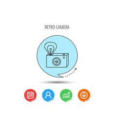 retro photo camera icon photographer equipment vector image