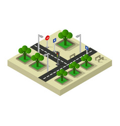 Road intersection isometric icon in on white vector