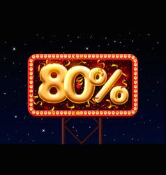 Sale 80 off ballon number on night sky vector