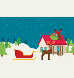 Santa sleigh with gifts and presents with vector