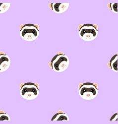 seamless pattern with cute ferret muzzle vector image