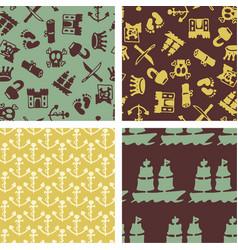 Seamless patterns - hand drawn pirat objects vector