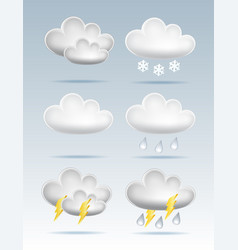 set cloud icons in cartoon style on blue vector image