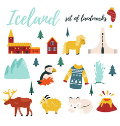 set of iceland symbols and tourist attractions vector image
