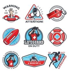Set of vintage lifeguard emblems vector image