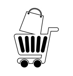 Shopping cart with shopping bag vector