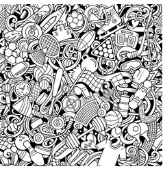 Sports hand drawn doodles seamless pattern vector