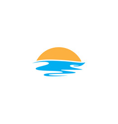 Sunset sea wave logo vector