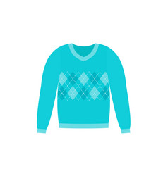 Sweater icon blue pullover flat design vector