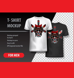 t-shirt template fully editable with pilot skull vector image