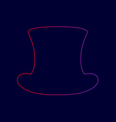 Top hat sign line icon with gradient from vector