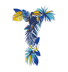 tropical floral summer letter t hand drawn vector image