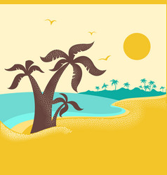 tropical island with palms poster nature vector image