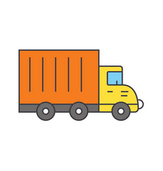 truck car line icon concept truck car flat vector image