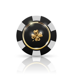 Vip poker black and white chip with golden ring vector