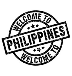 Welcome to philippines black stamp vector