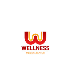 wellness medical center letter w icon vector image