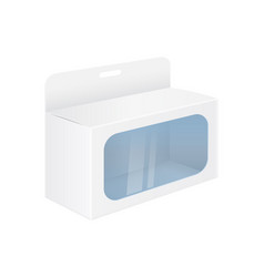 white paper box mockup with display window and vector image
